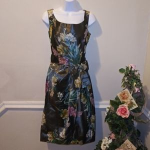 Vtge. 1950-60's Gray Floral Taffeta Cocktail Dress